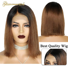 Load image into Gallery viewer, Short Bob Wig Straight Human Hair Front Lace Cap Pre-Plucked Hairline