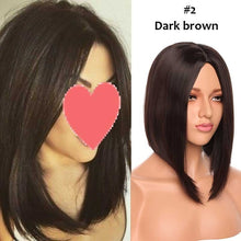 Load image into Gallery viewer, Straight Synthetic Bob Wig Middle Part Hairline 12inch