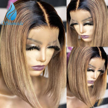 Load image into Gallery viewer, Middle Part Bob Lace Wig Short Highlight Blonde