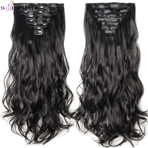 Clip in Hair Extensions For Women - 8pcs/set Wavy 18 Clips 24inch