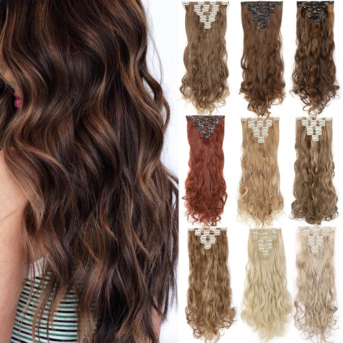 Clip in on Hair Extensions 18 Clips 24inch 140g 8PCS/set Curly Natural Synthetic hair For Women