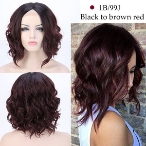 Middle Part BOB Wig Color Synthetic Lace Front Wig Short Wavy Bob Hair
