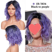 Load image into Gallery viewer, Middle Part BOB Wig Color Synthetic Lace Front Wig Short Wavy Bob Hair