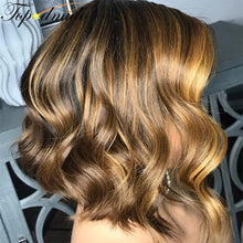 Load image into Gallery viewer, Highlight Colored Wig 13x6 Lace Frontal Remy Human Hair Short Bob Wavy Wigs