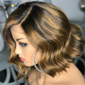 Highlight Colored Wig 13x6 Lace Frontal Remy Human Hair Short Bob Wavy Wigs