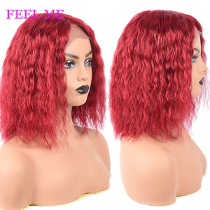 Red Wavy Human Hair Wigs Short Brazilian Water Wave Bob Wigs