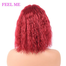 Load image into Gallery viewer, Red Wavy Human Hair Wigs Short Brazilian Water Wave Bob Wigs