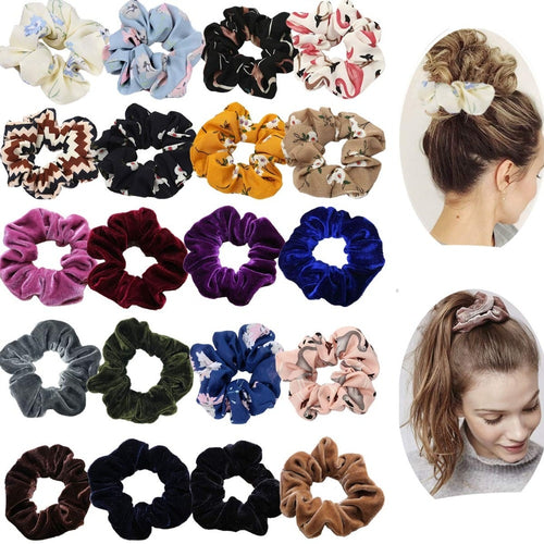 20 Pack Flower Pattern Hair Scrunchies Elastic Hair Bands