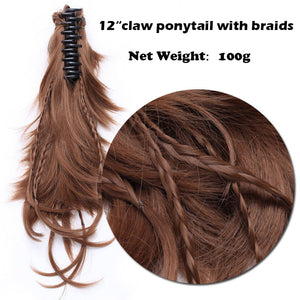 Braids Claw Clip Ponytail Clip In Hair Extensions Hairpieces