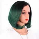 Colored Bob Wig Women Short Straight Hair With Bangs