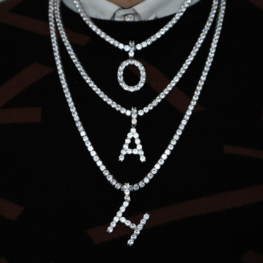 Rock Hip Hop Bling Jewelry Diamond Letter Pendant And Necklace
