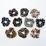 Leopard Dot Velvet Scrunchies Women Elastic Hair Rubber Bands Accessories For Girls Lady Tie Hair Rope Ponytail Holder Headdress