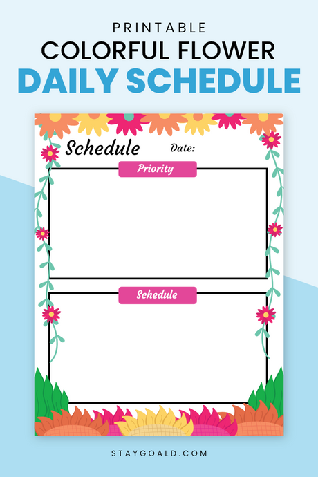 Colorful Flower Daily Schedule Printable Planner Page - Stay Goal'd