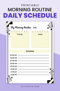 Morning Routine Daily Schedule Printable Planner Page - Stay Goal'd