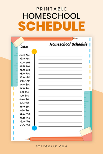Homeschool Schedule Printable Planner Page - Stay Goal'd
