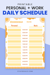Sunny Personal + Work Daily Schedule Printable Planner Page - Stay Goal'd