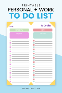 Personal and Work To Do List Printable - Stay Goal'd