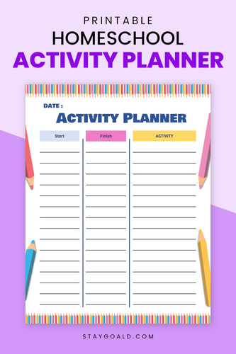 Homeschool Activity Printable Planner Page - Stay Goal'd