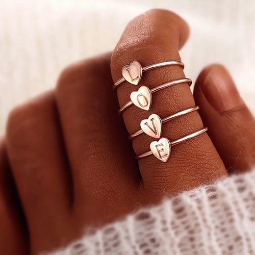 Ring - 1PCs Fashion Heart Ring With Initial Letter (3 colors)
