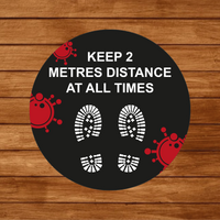 2 Metres Apart Floor Sticker 400mm