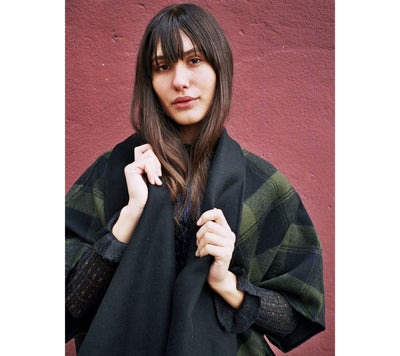 Genova Open Check Wool Cape