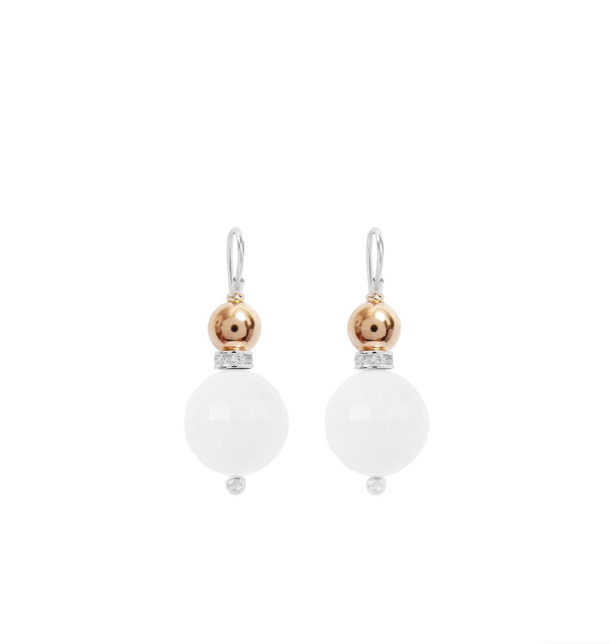 Double Ball Earring White Howlite