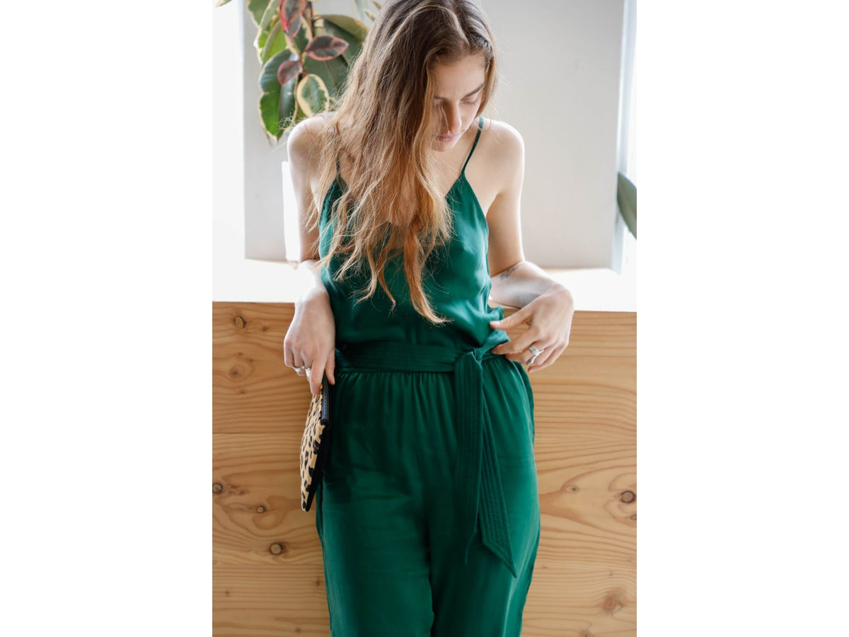 Axl Green Silk Jumpsuit