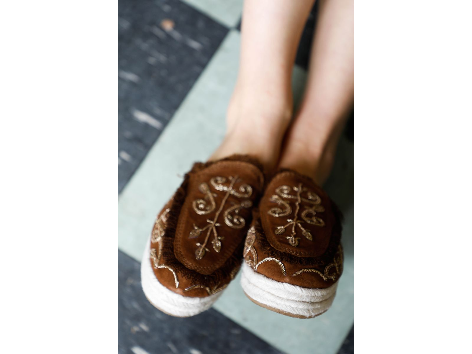 Gemini Suede Embroidered Slides Brown