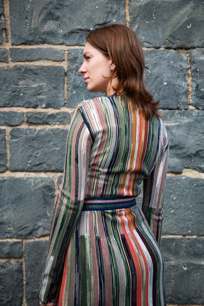 Long Sleeve Knitted Stripe Dress
