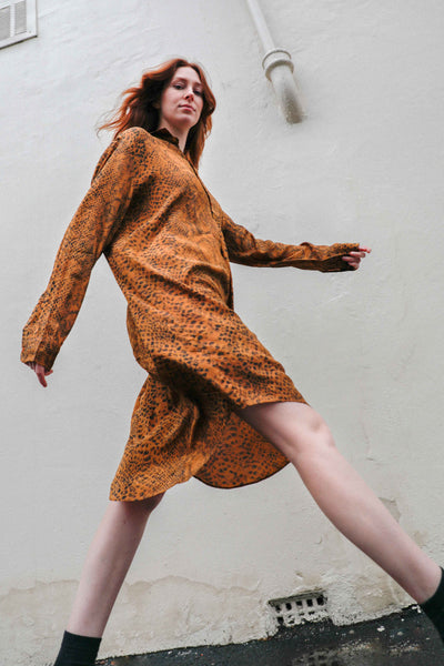Kaa Shirt Dress Animal Print Ocre
