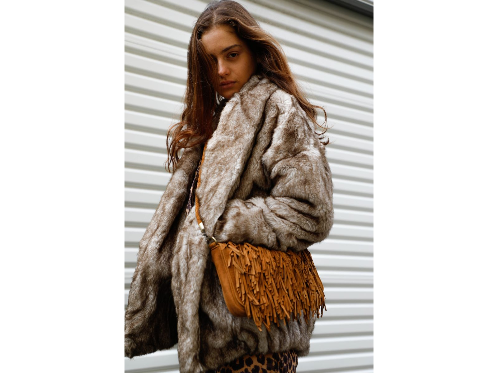 Cheldon Beige Brown Faux Fur Coat