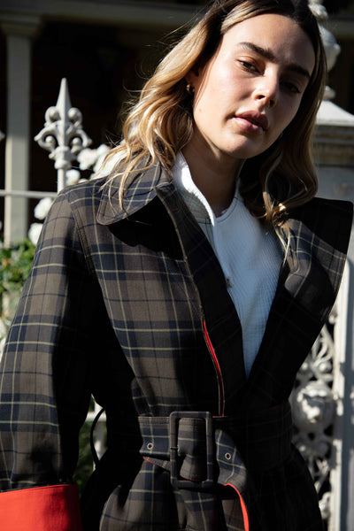Bourdon Check Trench Coat
