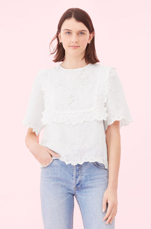 La Vie Embroided Linen Top