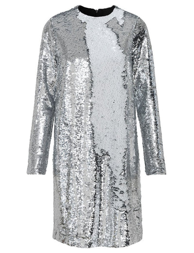 Mirror Sequin Silver Long Sleeve Sequin Dress