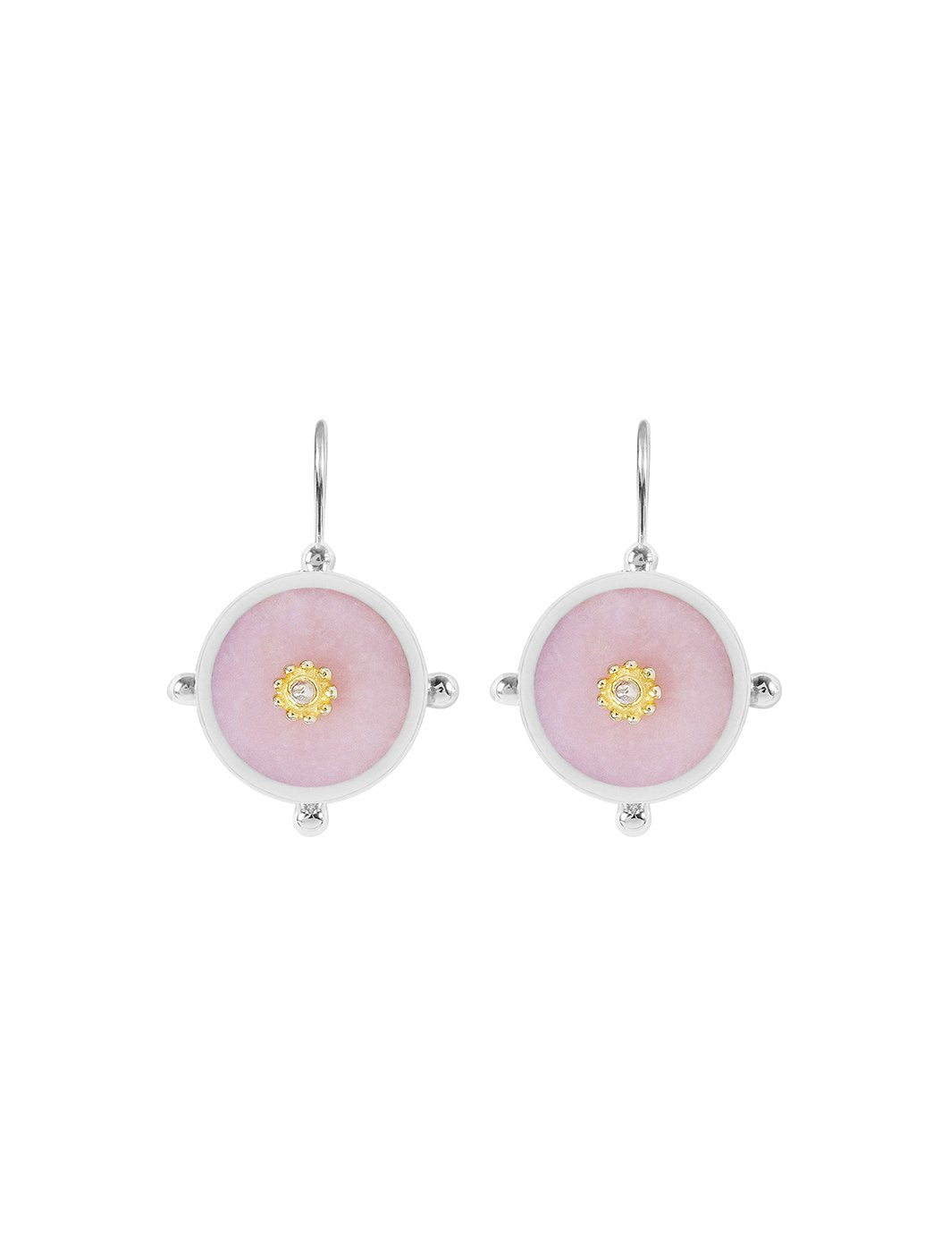 Button Earring Pink Opal
