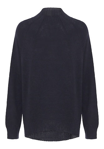 Navy  High Crew Neck Knit