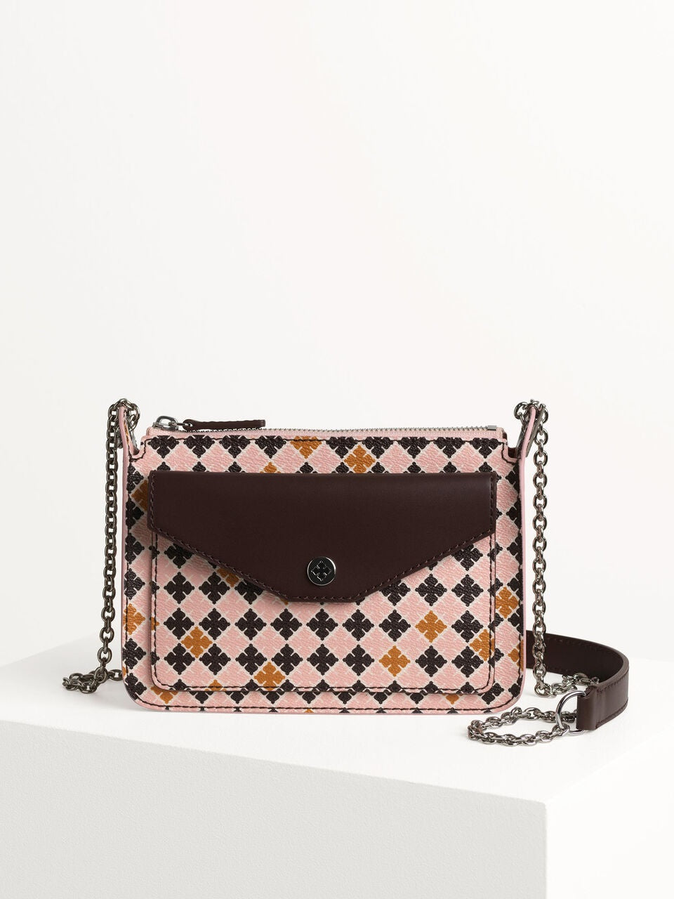 Elie Cross Body Chain Print Bag