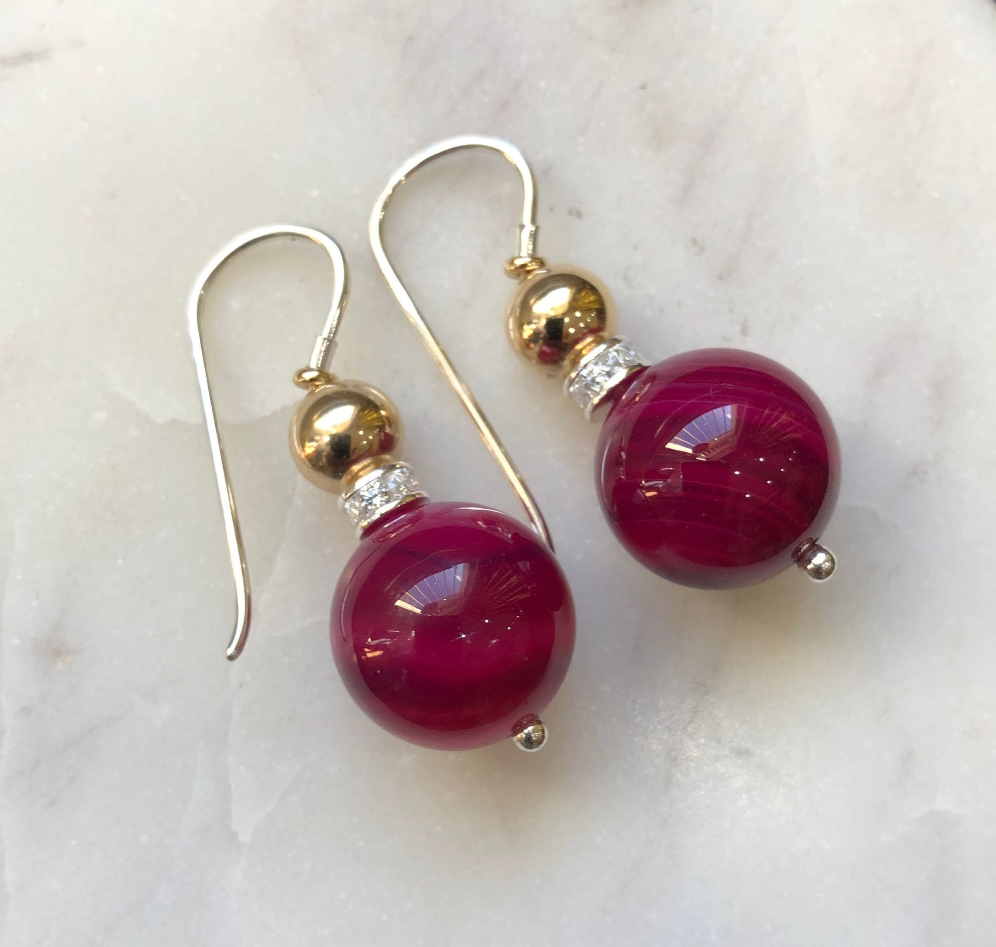 Double Ball Earrings Hot Pink/Crystal