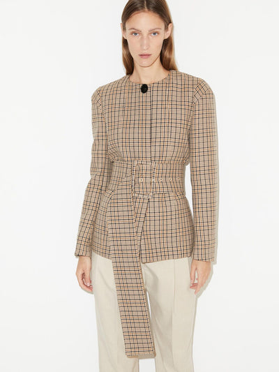 Shelly Plaid Belted Jacket