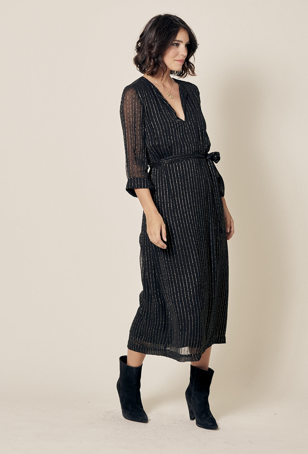 Noeli Black Lurex Stripe TIe Dress