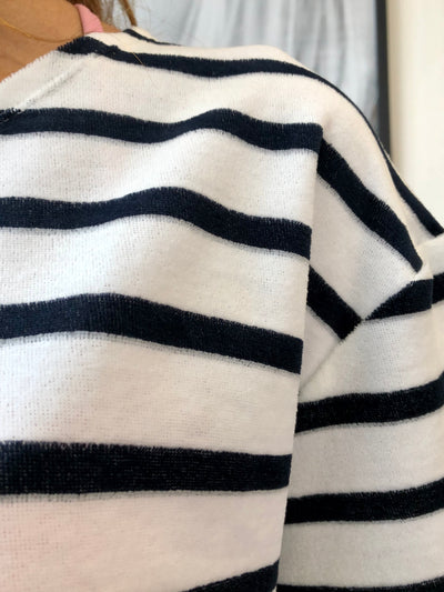 Terry Cropped Stripe Tee