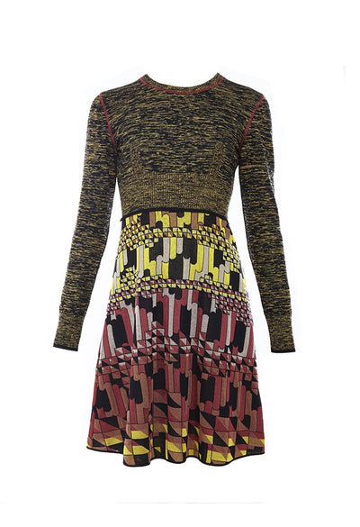 Patterned KNIT DRESS Long Sleeve To Knee