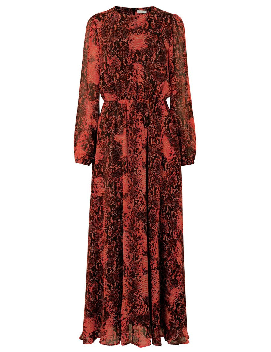 Monique Red Snake Print Long Dress