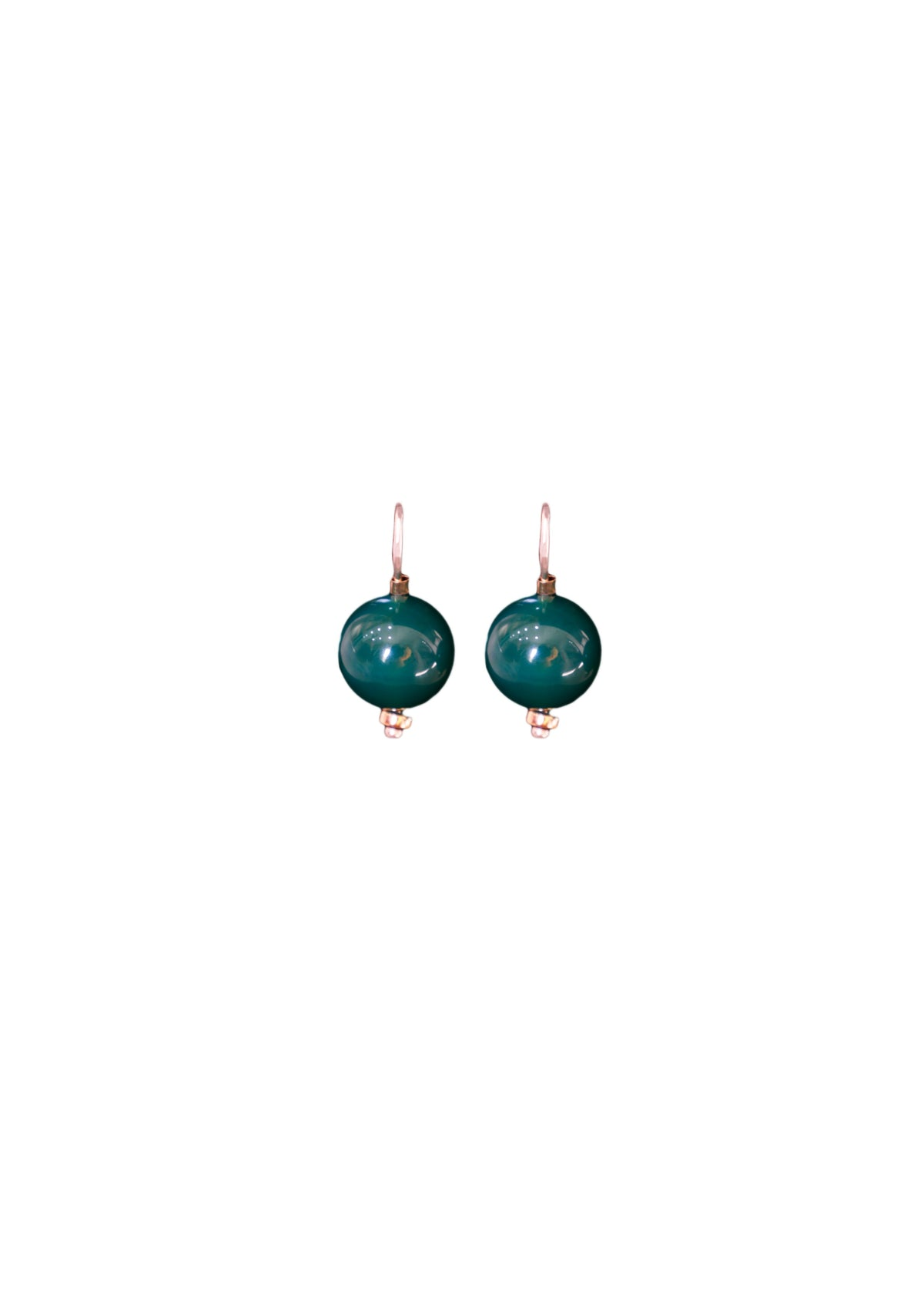 Ball Earring Green Agate