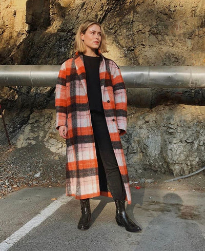 Orange Check Long Overcoat