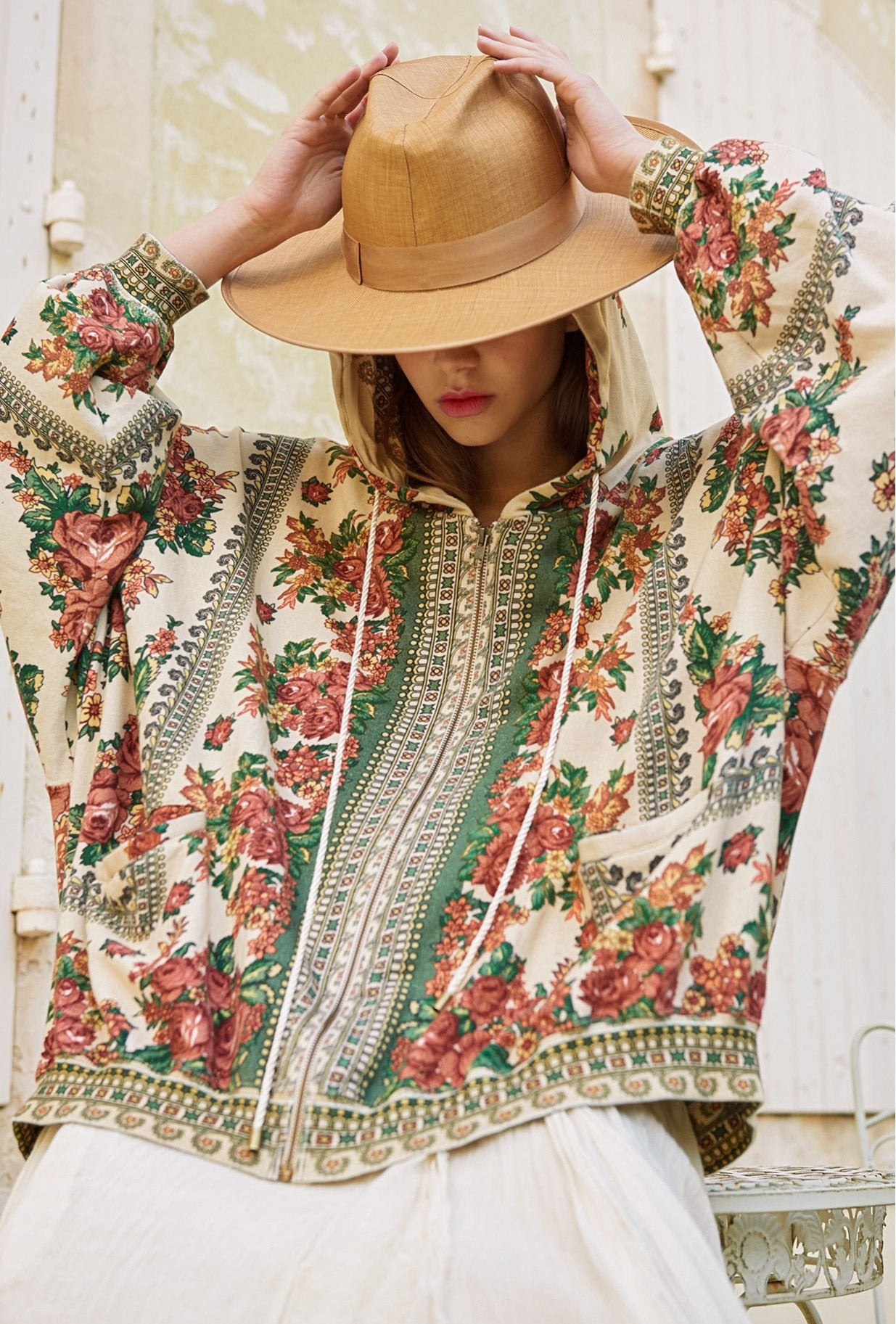 Massilia Floral Hooded Sweat Top