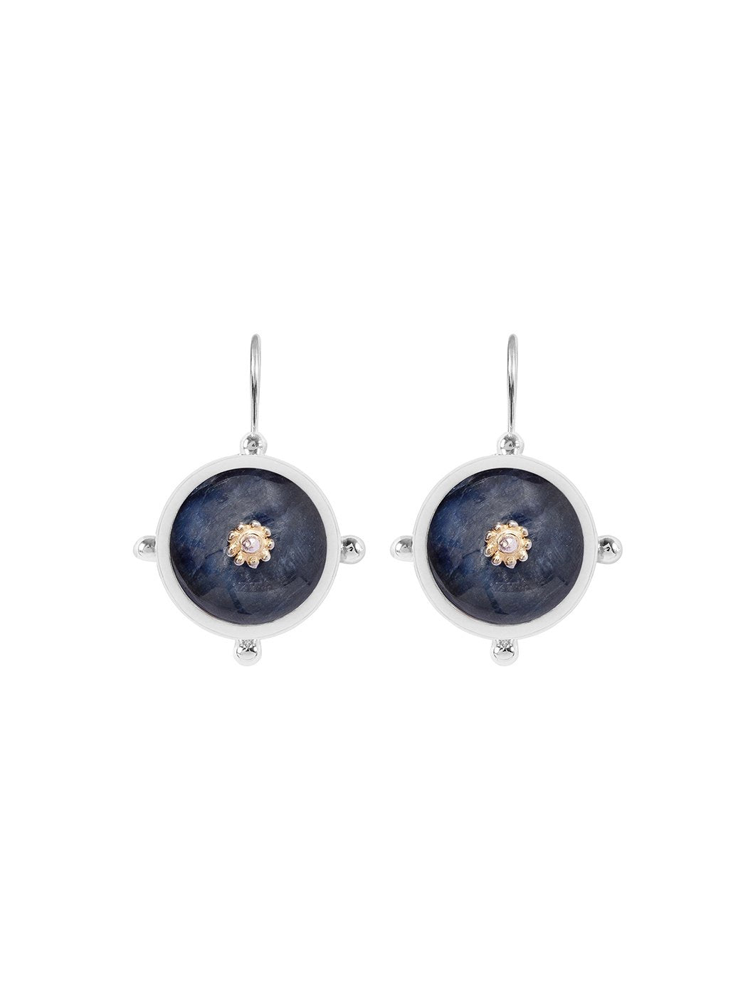 Button Earrings Blue