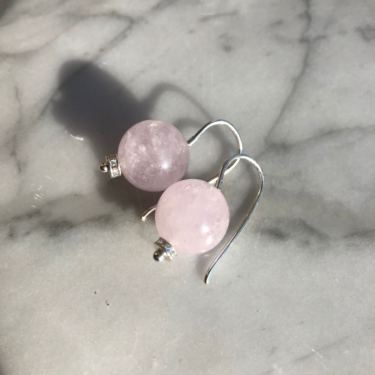 Ball Earrings Soft Pink Rose Quartz