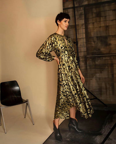 Gold and Black Statement Lurex dress