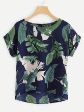 Load image into Gallery viewer, Rolled Cuff Floral Print Blouse